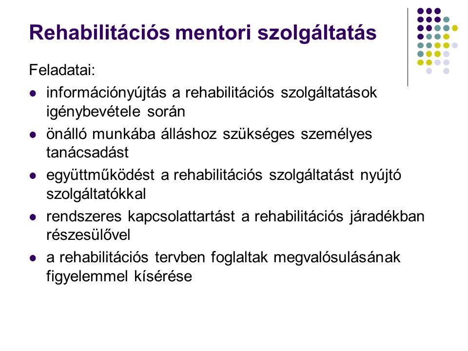 Rehabilitációs mentori szolgáltatás Feladatai: információnyújtás a rehabilitációs szolgáltatások igénybevétele során önálló munkába álláshoz szükséges