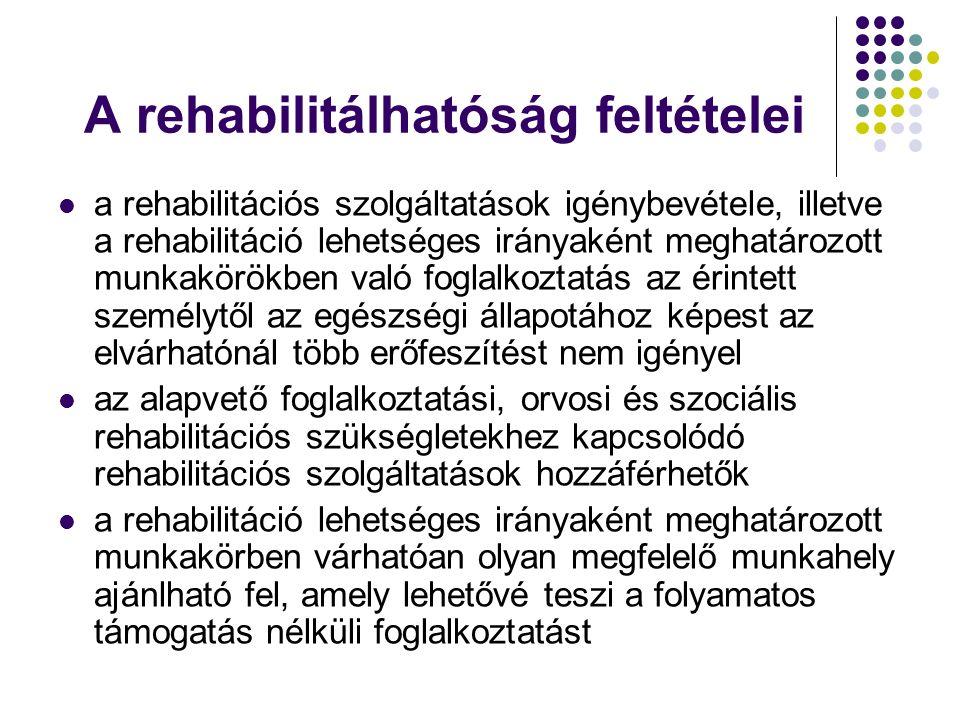 A rehabilitálhatóság feltételei a rehabilitációs szolgáltatások igénybevétele, illetve a rehabilitáció lehetséges irányaként meghatározott munkakörökben való foglalkoztatás az érintett személytől az egészségi állapotához képest az elvárhatónál több erőfeszítést nem igényel az alapvető foglalkoztatási, orvosi és szociális rehabilitációs szükségletekhez kapcsolódó rehabilitációs szolgáltatások hozzáférhetők a rehabilitáció lehetséges irányaként meghatározott munkakörben várhatóan olyan megfelelő munkahely ajánlható fel, amely lehetővé teszi a folyamatos támogatás nélküli foglalkoztatást