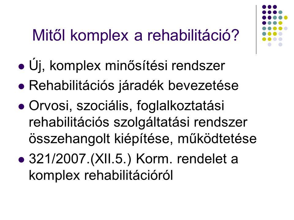 Mitől komplex a rehabilitáció? Új, komplex minősítési rendszer Rehabilitációs járadék bevezetése Orvosi, szociális, foglalkoztatási rehabilitációs szo