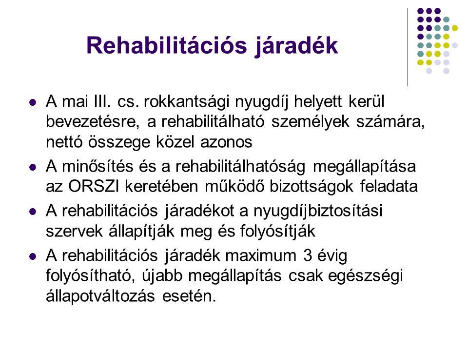 Rehabilitációs járadék A mai III. cs. rokkantsági nyugdíj helyett kerül bevezetésre, a rehabilitálható személyek számára, nettó összege közel azonos A