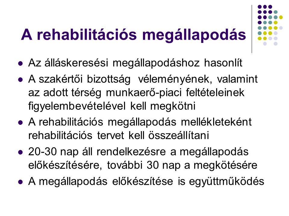 A rehabilitációs megállapodás Az álláskeresési megállapodáshoz hasonlít A szakértői bizottság véleményének, valamint az adott térség munkaerő-piaci feltételeinek figyelembevételével kell megkötni A rehabilitációs megállapodás mellékleteként rehabilitációs tervet kell összeállítani 20-30 nap áll rendelkezésre a megállapodás előkészítésére, további 30 nap a megkötésére A megállapodás előkészítése is együttműködés