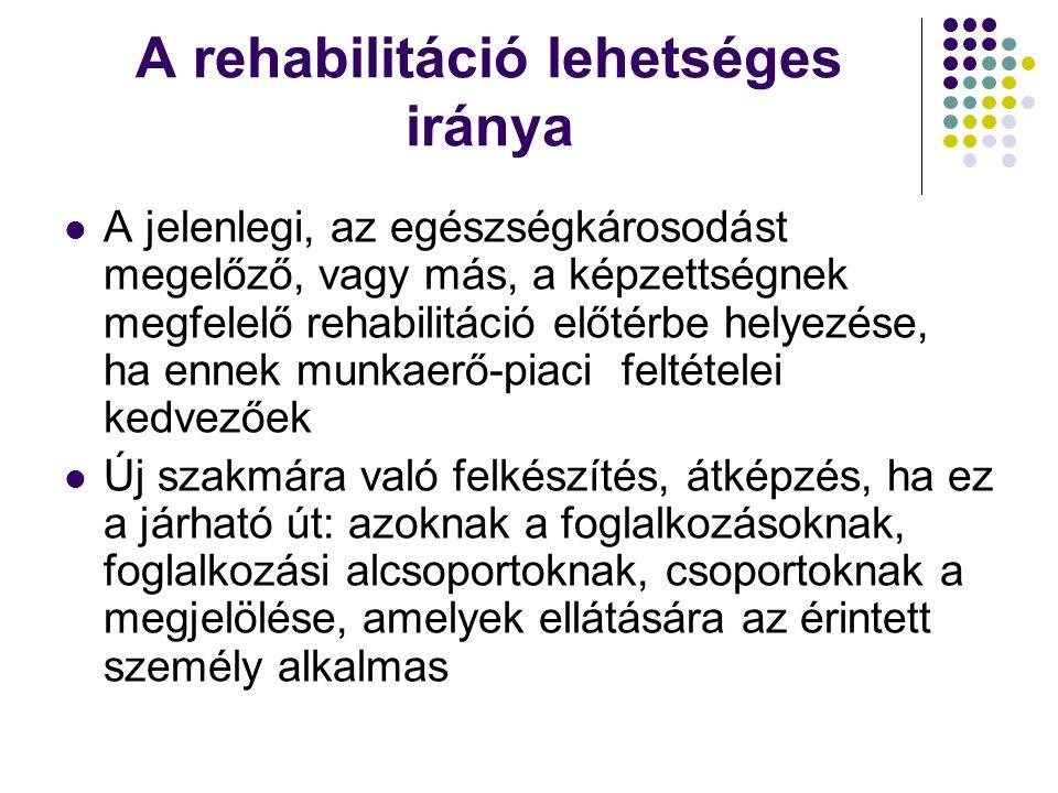 A rehabilitáció lehetséges iránya A jelenlegi, az egészségkárosodást megelőző, vagy más, a képzettségnek megfelelő rehabilitáció előtérbe helyezése, ha ennek munkaerő-piaci feltételei kedvezőek Új szakmára való felkészítés, átképzés, ha ez a járható út: azoknak a foglalkozásoknak, foglalkozási alcsoportoknak, csoportoknak a megjelölése, amelyek ellátására az érintett személy alkalmas