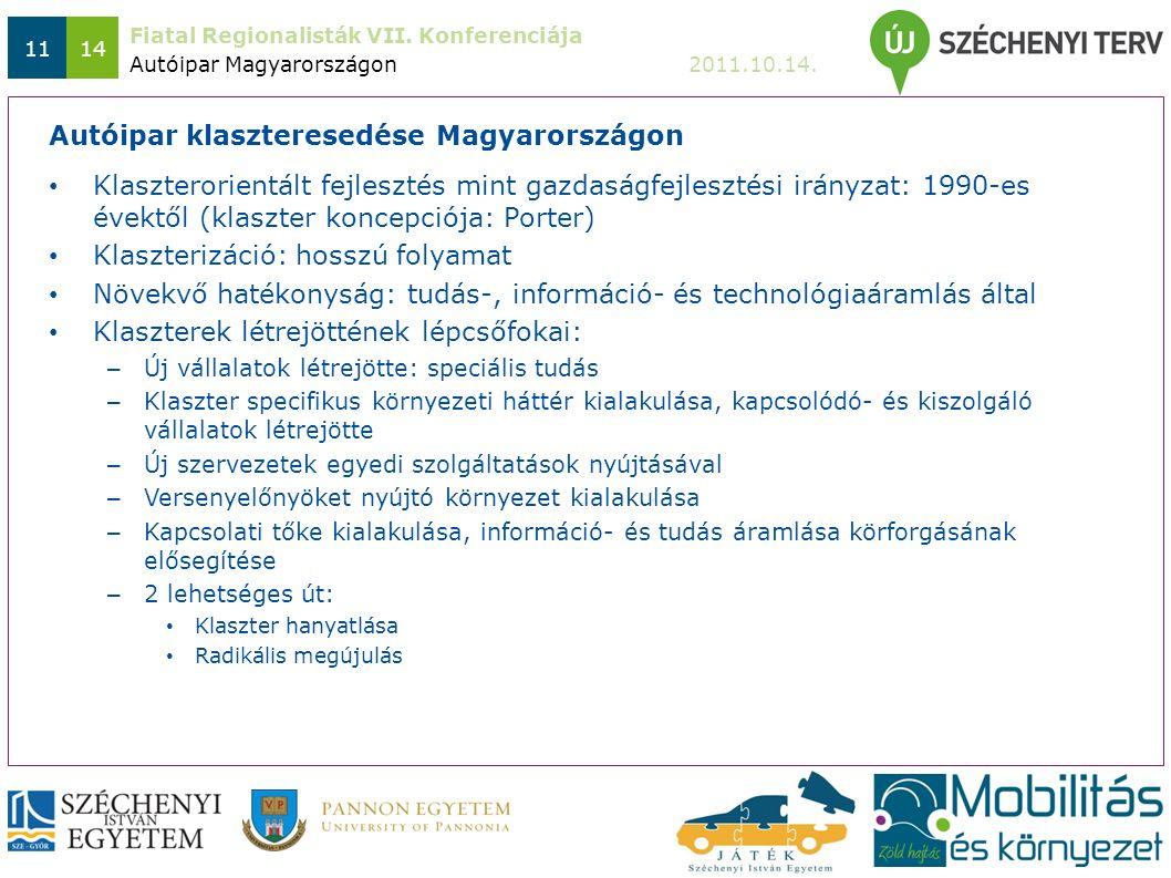 Fiatal Regionalisták VII. Konferenciája 2011.10.14. 1114 Klaszterorientált fejlesztés mint gazdaságfejlesztési irányzat: 1990-es évektől (klaszter kon