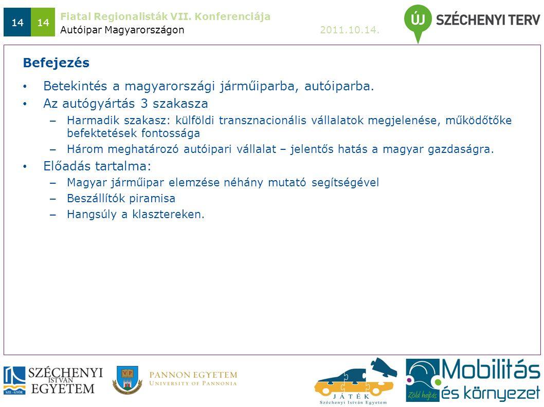 Fiatal Regionalisták VII. Konferenciája 2011.10.14. 14 Betekintés a magyarországi járműiparba, autóiparba. Az autógyártás 3 szakasza – Harmadik szakas