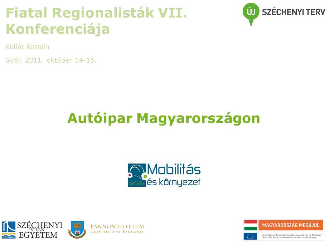 Autóipar Magyarországon Fiatal Regionalisták VII. Konferenciája Kollár Katalin Győr, 2011. október 14-15.