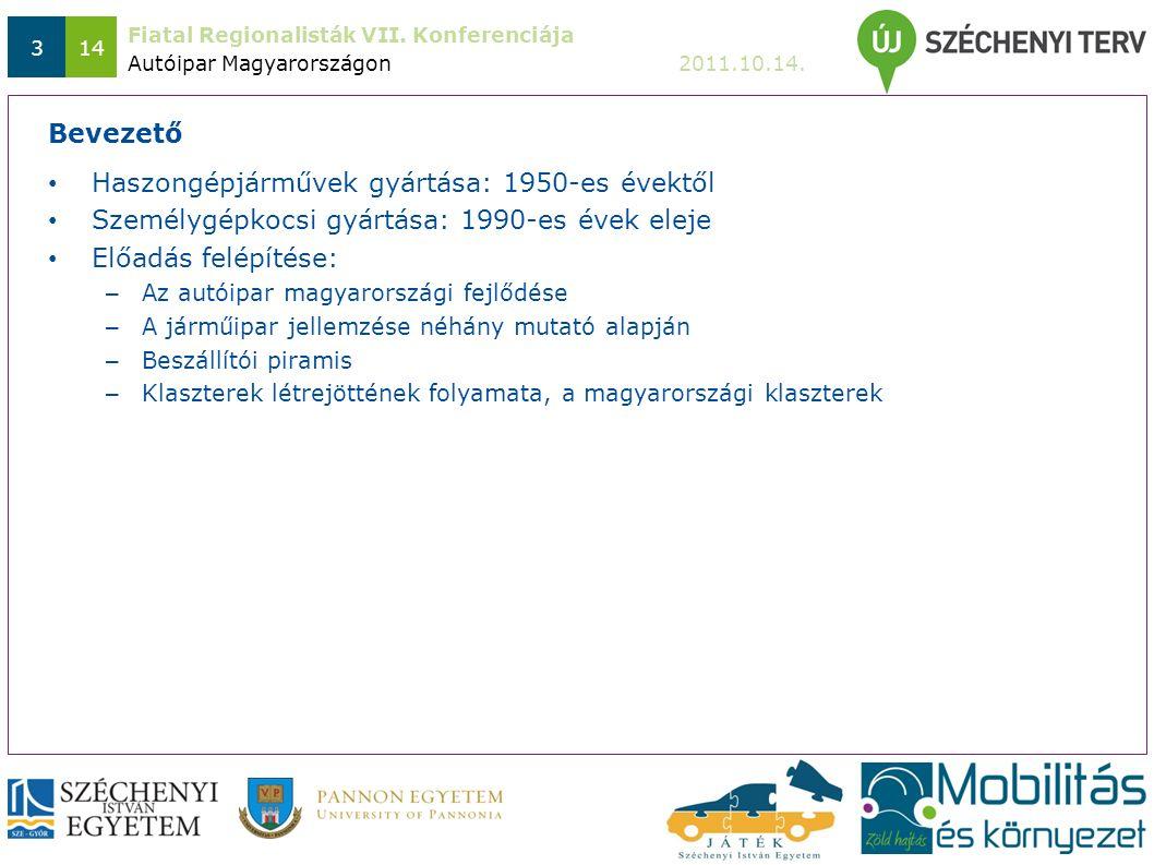 Fiatal Regionalisták VII. Konferenciája 2011.10.14. 314 Haszongépjárművek gyártása: 1950-es évektől Személygépkocsi gyártása: 1990-es évek eleje Előad