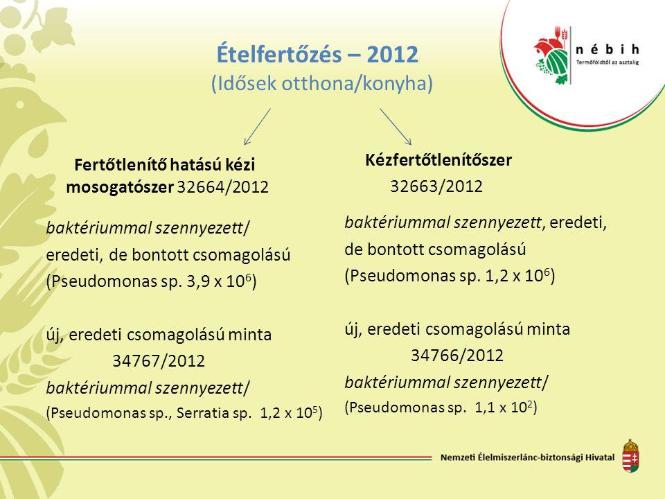 Ételfertőzés – 2012 (Idősek otthona/konyha) Fertőtlenítő hatású kézi mosogatószer 32664/2012 baktériummal szennyezett/ eredeti, de bontott csomagolású (Pseudomonas sp.