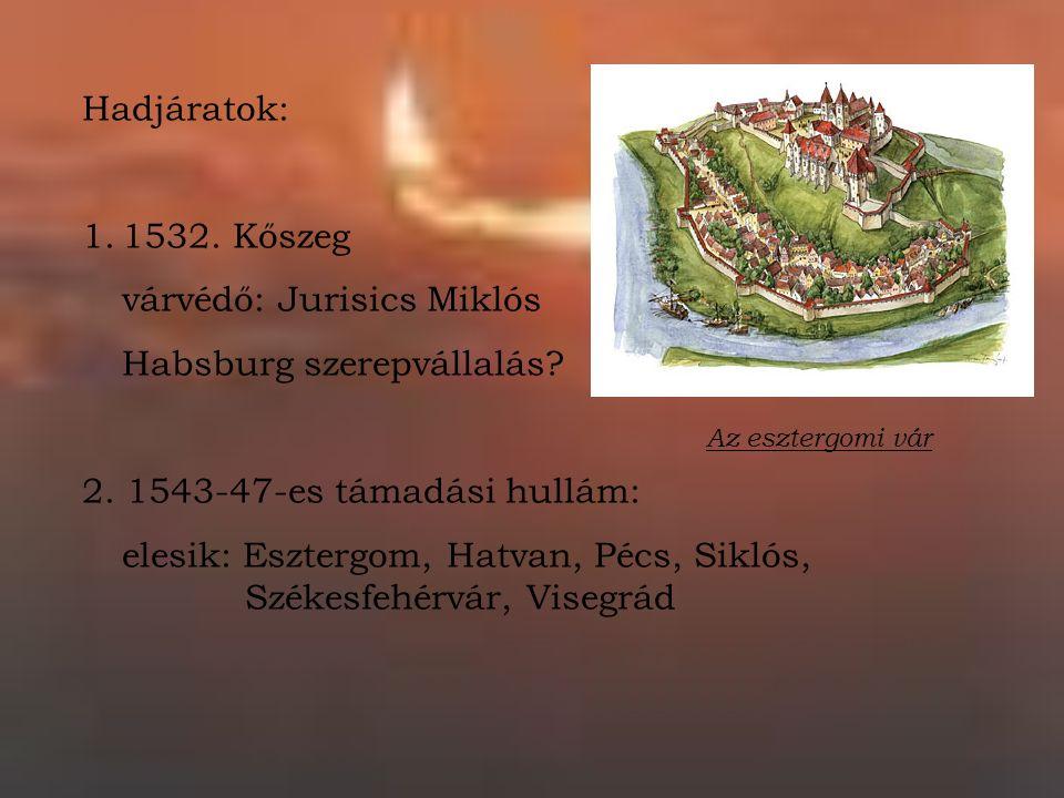 Hadjáratok: 1.1532. Kőszeg várvédő: Jurisics Miklós Habsburg szerepvállalás.