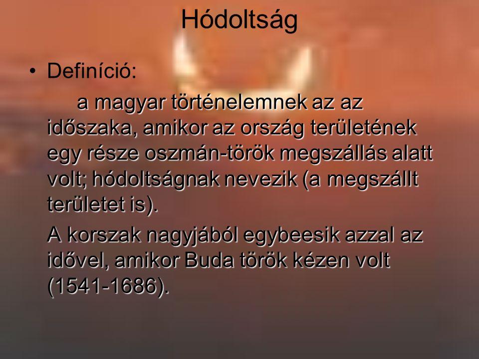 Hódoltság Definíció: a magyar történelemnek az az időszaka, amikor az ország területének egy része oszmán-török megszállás alatt volt; hódoltságnak nevezik (a megszállt területet is).