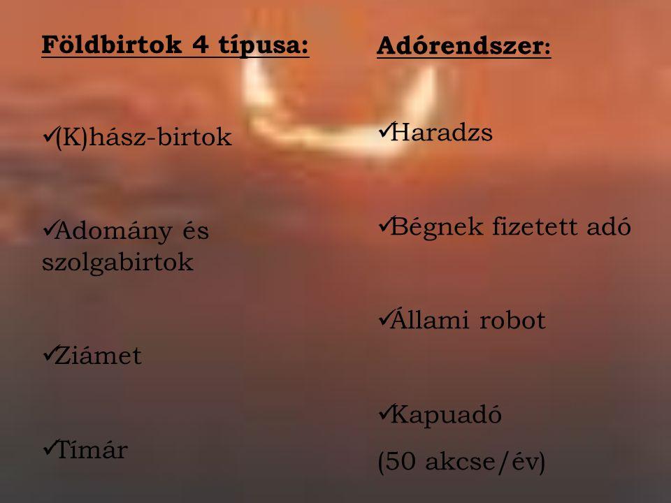 Földbirtok 4 típusa: (K)hász-birtok Adomány és szolgabirtok Ziámet Tímár Adórendszer : Haradzs Bégnek fizetett adó Állami robot Kapuadó (50 akcse/év)