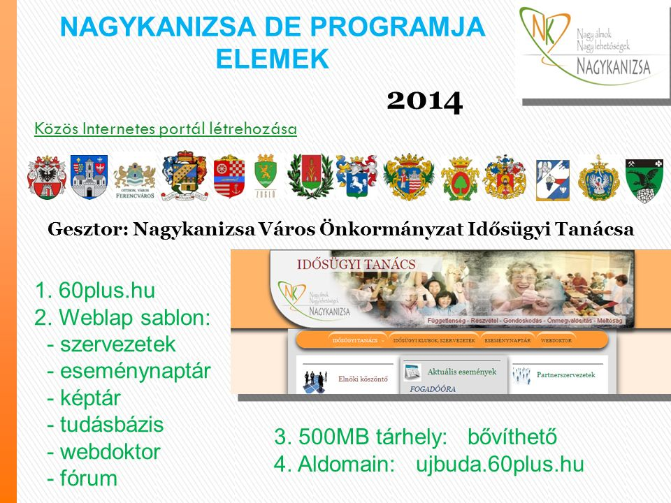 Közös Internetes portál létrehozása 1. 60plus.hu 2.
