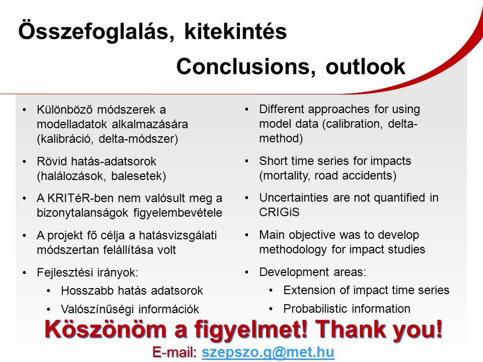Összefoglalás, kitekintés Conclusions, outlook Different approaches for using model data (calibration, delta- method) Short time series for impacts (m