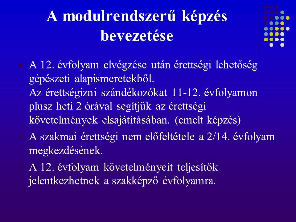 A modulrendszerű képzés bevezetése A 12. évfolyam elvégzése után érettségi lehetőség gépészeti alapismeretekből. Az érettségizni szándékozókat 11-12.