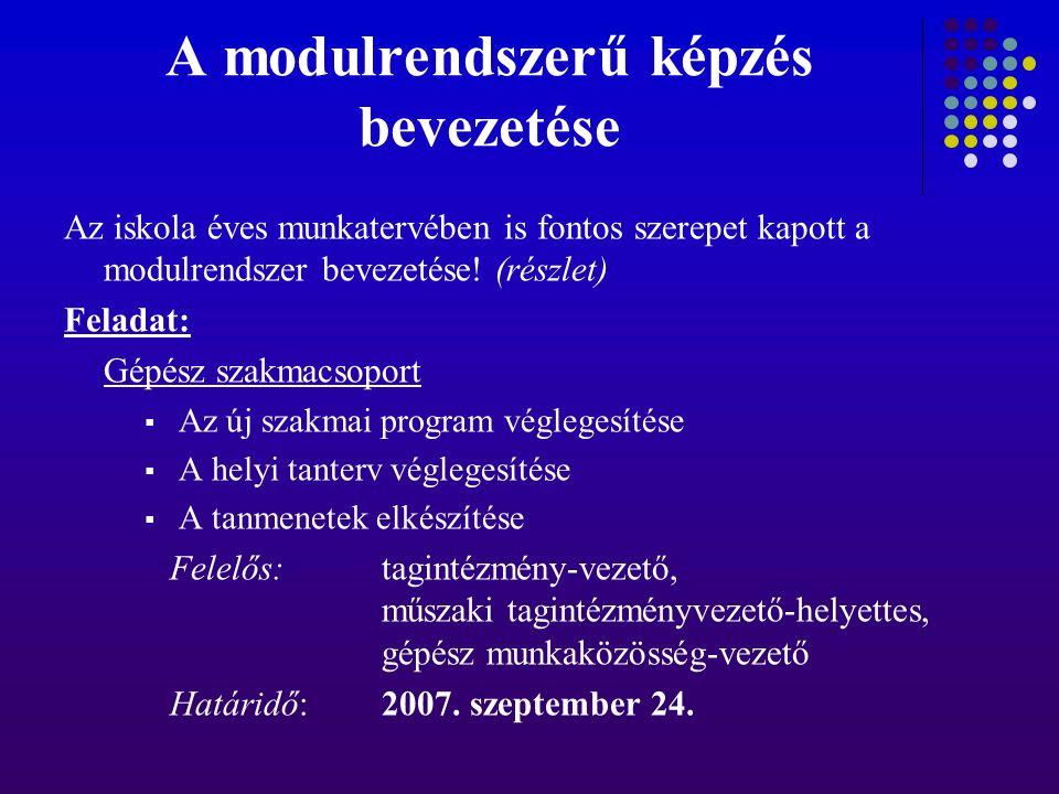 A modulrendszerű képzés bevezetése Az iskola éves munkatervében is fontos szerepet kapott a modulrendszer bevezetése.