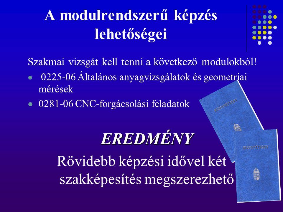 A modulrendszerű képzés lehetőségei Szakmai vizsgát kell tenni a következő modulokból! 0225-06 Általános anyagvizsgálatok és geometriai mérések 0281-0