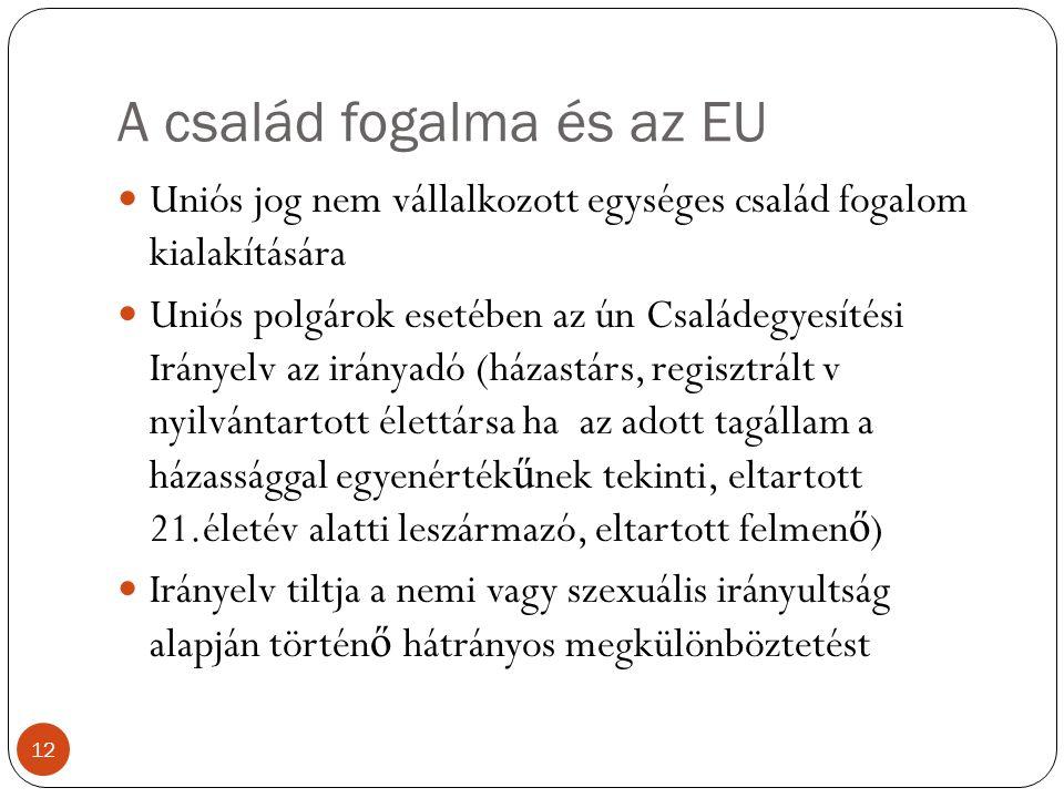A család fogalma és az EU 12 Uniós jog nem vállalkozott egységes család fogalom kialakítására Uniós polgárok esetében az ún Családegyesítési Irányelv az irányadó (házastárs, regisztrált v nyilvántartott élettársa ha az adott tagállam a házassággal egyenérték ű nek tekinti, eltartott 21.életév alatti leszármazó, eltartott felmen ő ) Irányelv tiltja a nemi vagy szexuális irányultság alapján történ ő hátrányos megkülönböztetést