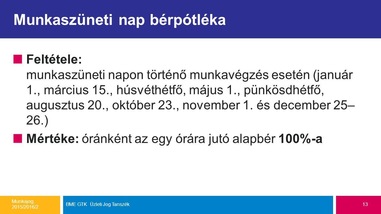 Munkaszüneti nap bérpótléka Feltétele: munkaszüneti napon történő munkavégzés esetén (január 1., március 15., húsvéthétfő, május 1., pünkösdhétfő, augusztus 20., október 23., november 1.