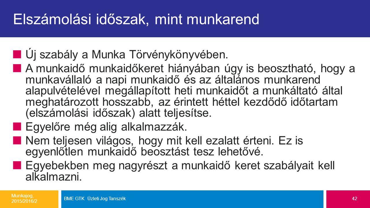 Elszámolási időszak, mint munkarend Új szabály a Munka Törvénykönyvében.