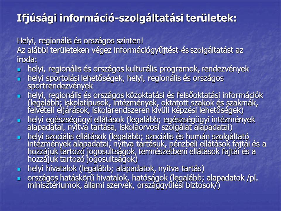 Ifjúsági információ-szolgáltatási területek: Helyi, regionális és országos szinten! Az alábbi területeken végez információgyűjtést-és szolgáltatást az