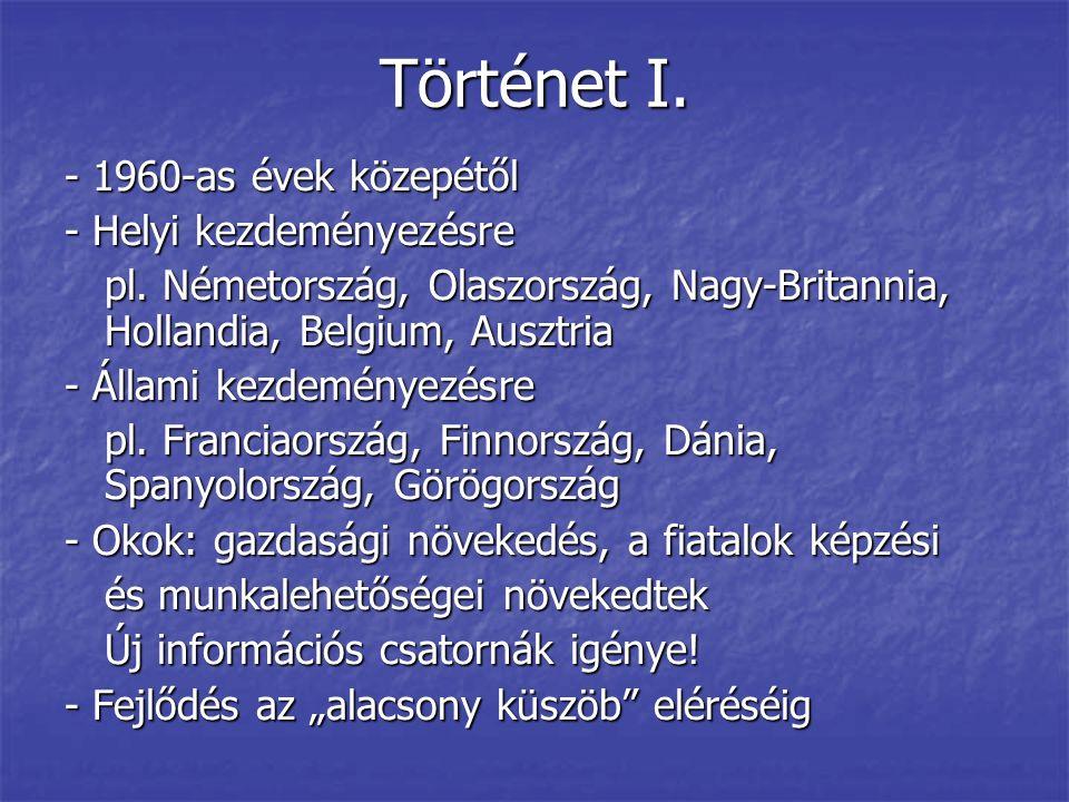 Történet I. - 1960-as évek közepétől - Helyi kezdeményezésre pl. Németország, Olaszország, Nagy-Britannia, Hollandia, Belgium, Ausztria - Állami kezde