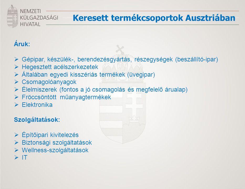 Keresett termékcsoportok Ausztriában Áruk:  Gépipar, készülék-, berendezésgyártás, részegységek (beszállító-ipar)  Hegesztett acélszerkezetek  Álta