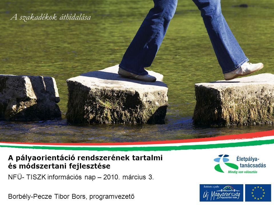 A pályaorientáció rendszerének tartalmi és módszertani fejlesztése Borbély-Pecze Tibor Bors, programvezető NFÜ- TISZK információs nap – 2010. március