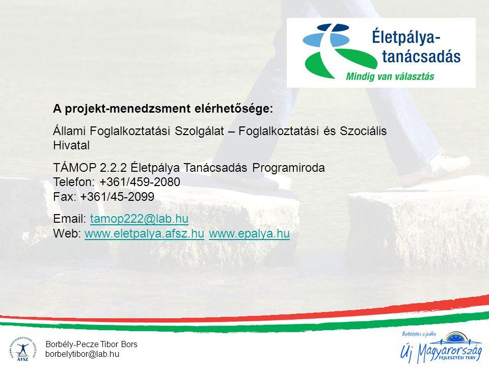 A projekt-menedzsment elérhetősége: Állami Foglalkoztatási Szolgálat – Foglalkoztatási és Szociális Hivatal TÁMOP 2.2.2 Életpálya Tanácsadás Programir