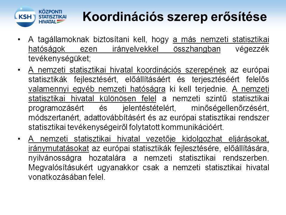 Koordinációs szerep erősítése A tagállamoknak biztosítani kell, hogy a más nemzeti statisztikai hatóságok ezen irányelvekkel összhangban végezzék tevékenységüket; A nemzeti statisztikai hivatal koordinációs szerepének az európai statisztikák fejlesztésért, előállításáért és terjesztéséért felelős valamennyi egyéb nemzeti hatóságra ki kell terjednie.