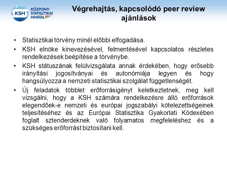Végrehajtás, kapcsolódó peer review ajánlások Statisztikai törvény minél előbbi elfogadása.