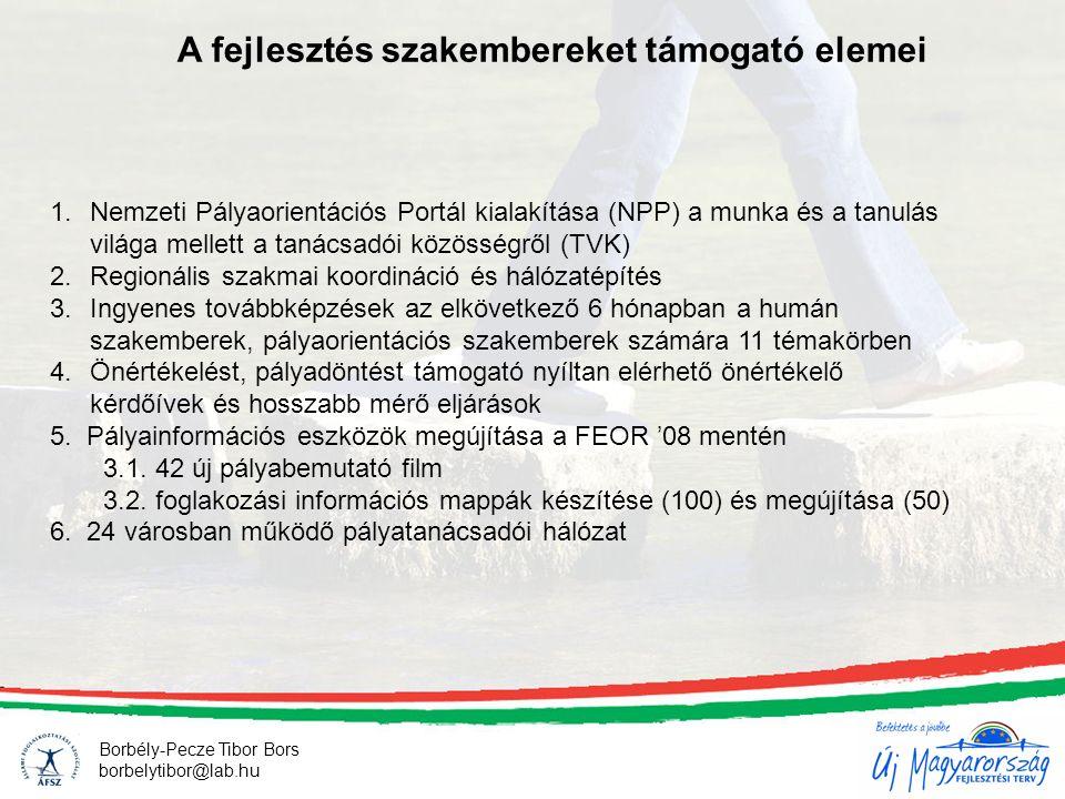 A fejlesztés szakembereket támogató elemei Borbély-Pecze Tibor Bors borbelytibor@lab.hu 1.Nemzeti Pályaorientációs Portál kialakítása (NPP) a munka és