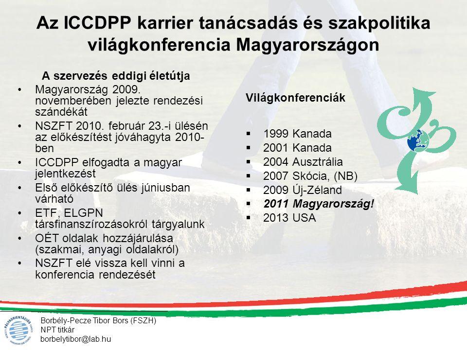 Borbély-Pecze Tibor Bors (FSZH) NPT titkár borbelytibor@lab.hu Az ICCDPP karrier tanácsadás és szakpolitika világkonferencia Magyarországon Világkonfe