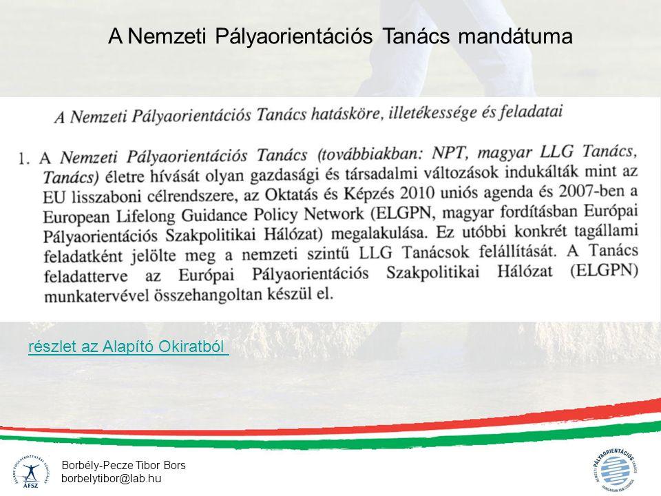 Borbély-Pecze Tibor Bors borbelytibor@lab.hu A Nemzeti Pályaorientációs Tanács mandátuma részlet az Alapító Okiratból