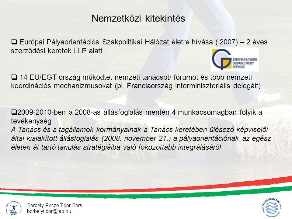 Borbély-Pecze Tibor Bors borbelytibor@lab.hu Nemzetközi kitekintés  Európai Pályaorientációs Szakpolitikai Hálózat életre hívása ( 2007) – 2 éves sze