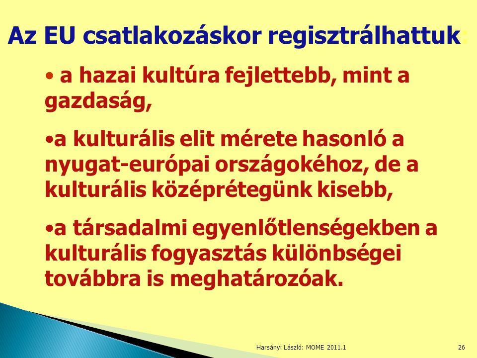 Harsányi László: MOME 2011.126 Az EU csatlakozáskor regisztrálhattuk: a hazai kultúra fejlettebb, mint a gazdaság, a kulturális elit mérete hasonló a nyugat-európai országokéhoz, de a kulturális középrétegünk kisebb, a társadalmi egyenlőtlenségekben a kulturális fogyasztás különbségei továbbra is meghatározóak.