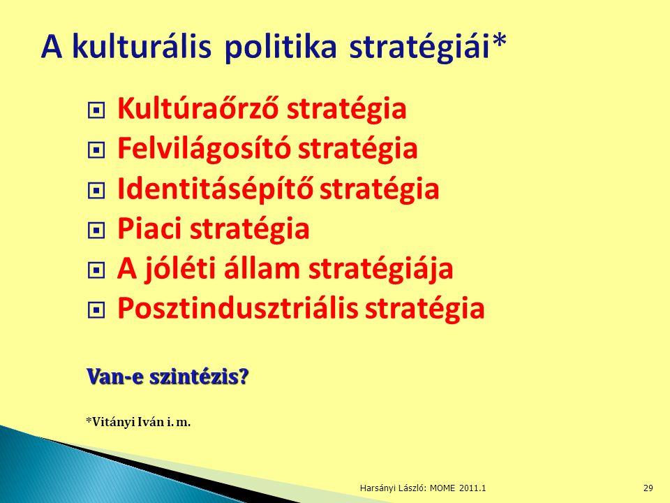  Kultúraőrző stratégia  Felvilágosító stratégia  Identitásépítő stratégia  Piaci stratégia  A jóléti állam stratégiája  Posztindusztriális stratégia Van-e szintézis.