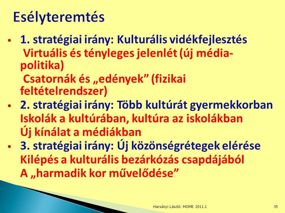 """1. stratégiai irány: Kulturális vidékfejlesztés Virtuális és tényleges jelenlét (új média- politika) Csatornák és """"edények"""" (fizikai feltételrendszer)"""