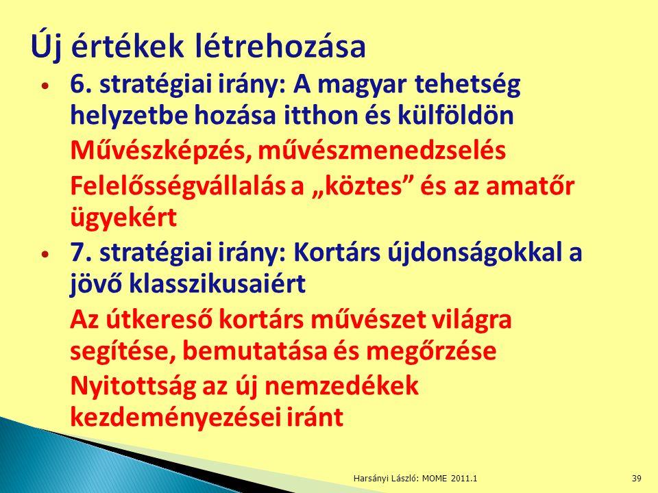 """6. stratégiai irány: A magyar tehetség helyzetbe hozása itthon és külföldön Művészképzés, művészmenedzselés Felelősségvállalás a """"köztes"""" és az amatőr"""