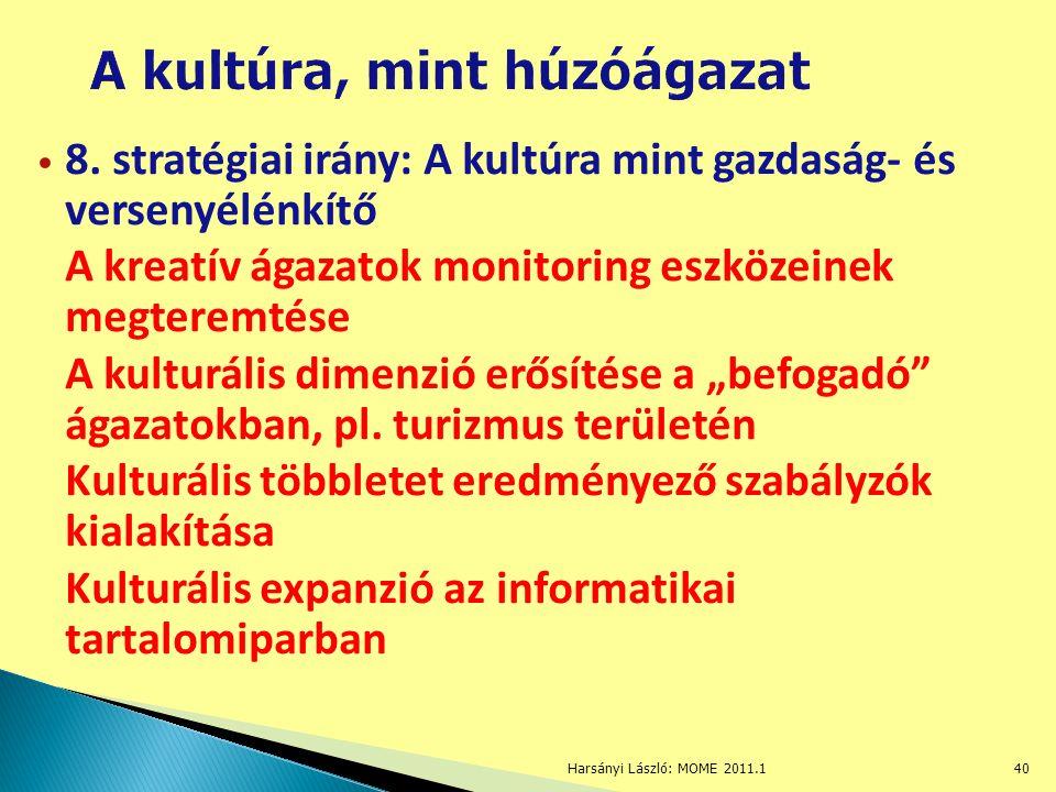 8. stratégiai irány: A kultúra mint gazdaság- és versenyélénkítő A kreatív ágazatok monitoring eszközeinek megteremtése A kulturális dimenzió erősítés