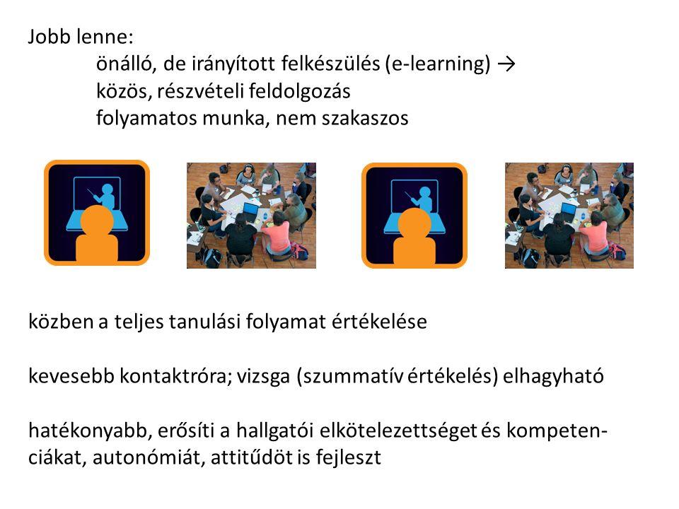 Jobb lenne: önálló, de irányított felkészülés (e-learning) → közös, részvételi feldolgozás folyamatos munka, nem szakaszos közben a teljes tanulási folyamat értékelése kevesebb kontaktróra; vizsga (szummatív értékelés) elhagyható hatékonyabb, erősíti a hallgatói elkötelezettséget és kompeten- ciákat, autonómiát, attitűdöt is fejleszt
