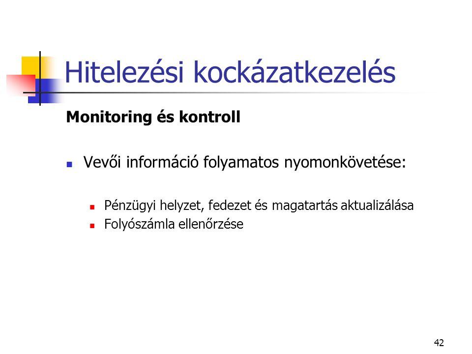 42 Hitelezési kockázatkezelés Monitoring és kontroll Vevői információ folyamatos nyomonkövetése: Pénzügyi helyzet, fedezet és magatartás aktualizálása