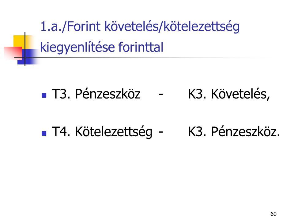 60 1.a./Forint követelés/kötelezettség kiegyenlítése forinttal T3. Pénzeszköz-K3. Követelés, T4. Kötelezettség-K3. Pénzeszköz.