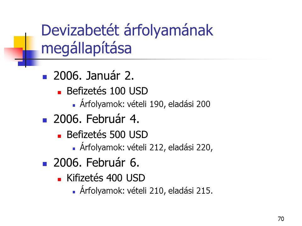 70 Devizabetét árfolyamának megállapítása 2006. Január 2. Befizetés 100 USD Árfolyamok: vételi 190, eladási 200 2006. Február 4. Befizetés 500 USD Árf