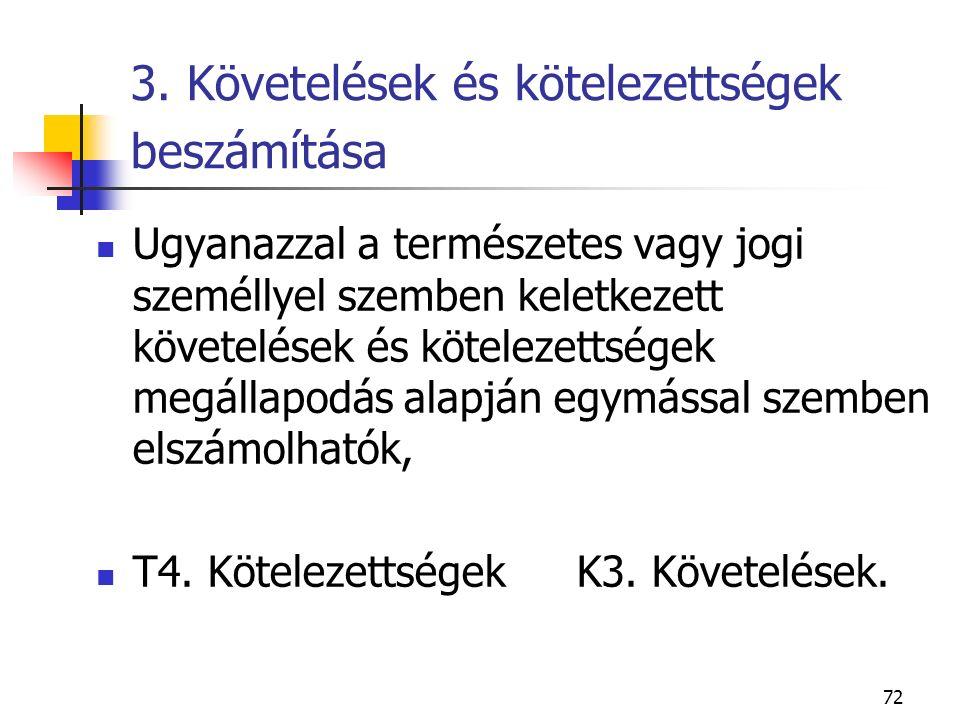 72 3. Követelések és kötelezettségek beszámítása Ugyanazzal a természetes vagy jogi személlyel szemben keletkezett követelések és kötelezettségek megá