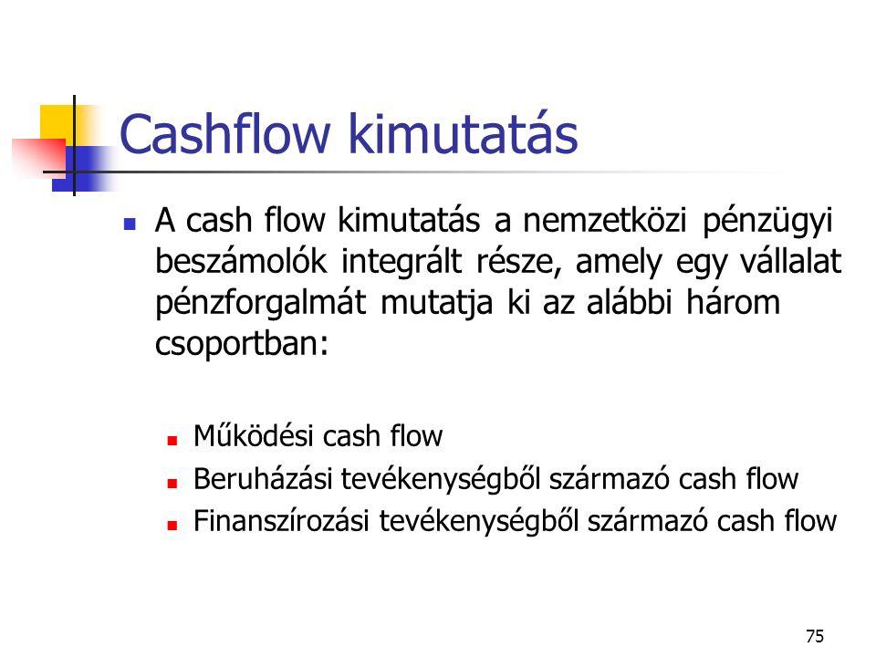 75 Cashflow kimutatás A cash flow kimutatás a nemzetközi pénzügyi beszámolók integrált része, amely egy vállalat pénzforgalmát mutatja ki az alábbi há