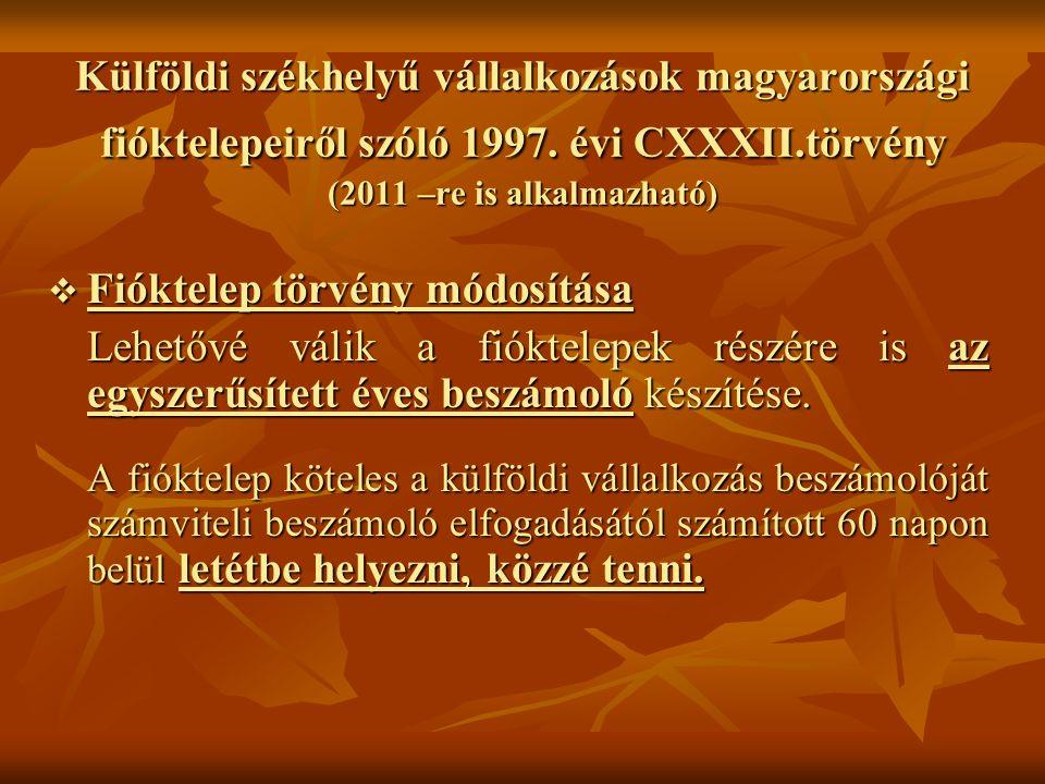 Külföldi székhelyű vállalkozások magyarországi fióktelepeiről szóló 1997. évi CXXXII.törvény (2011 –re is alkalmazható)  Fióktelep törvény módosítása