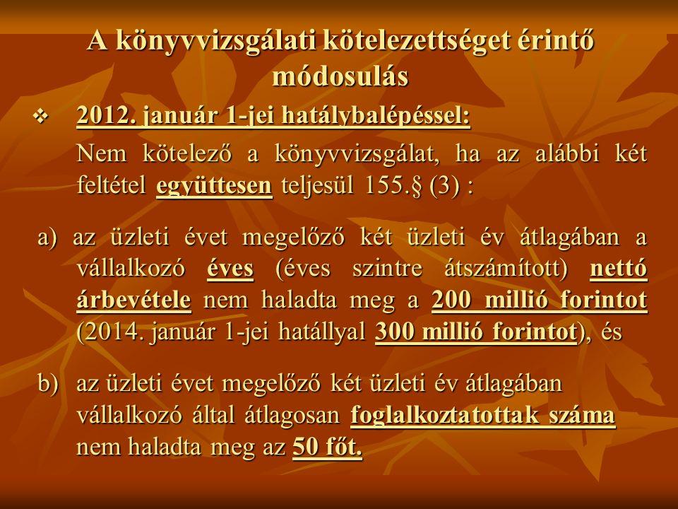 A könyvvizsgálati kötelezettséget érintő módosulás  2012. január 1-jei hatálybalépéssel: Nem kötelező a könyvvizsgálat, ha az alábbi két feltétel egy