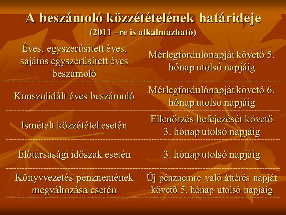 Adminisztrációs egyszerűsítések (2011 –re is alkalmazható)  Konszolidált beszámoló készítése alól mentesített anyavállalat fölérendelt külföldi anyavállalata konszolidált beszámolójára vonatkozó közzétételi kötelezettség változása: - Nem kell a hiteles magyar fordítás - Nem kell a hiteles magyar fordítás - Beszámoló elfogadástól számított 60 napon belül közzé kell tenni - Beszámoló elfogadástól számított 60 napon belül közzé kell tenni