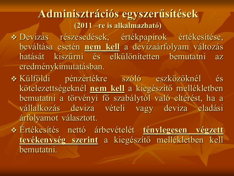 Adminisztrációs egyszerűsítések (2011 –re is alkalmazható)  Devizás részesedések, értékpapírok értékesítése, beváltása esetén nem kell a devizaárfoly