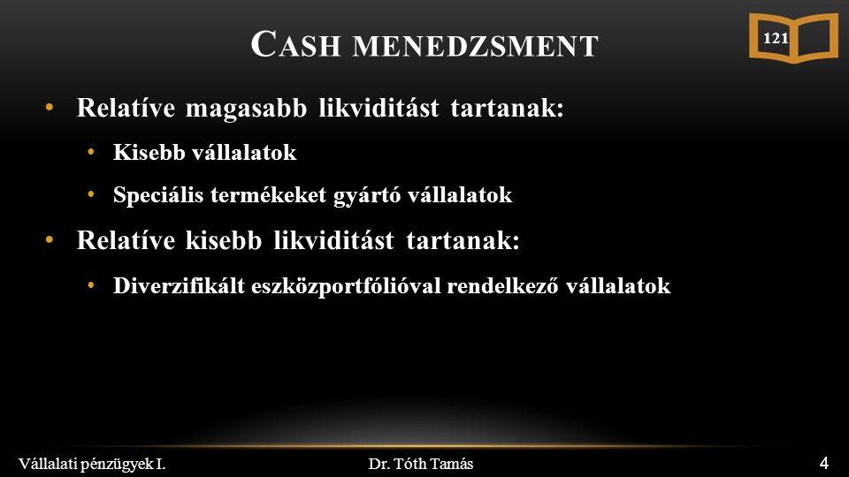 Dr. Tóth Tamás Vállalati pénzügyek I. 25 M ULTILATERÁLIS NETTÓSÍTÁS A C ASH P OOLBAN 121