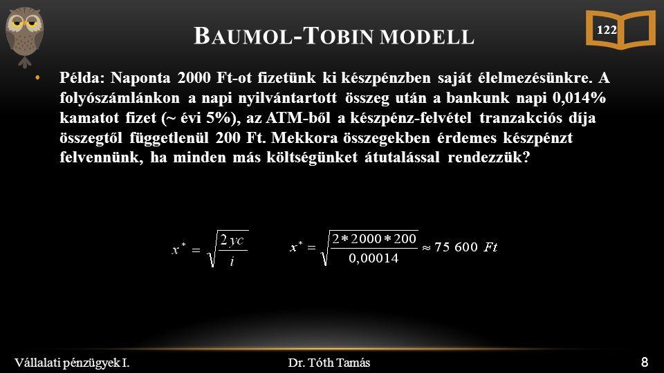 Dr.Tóth Tamás Vállalati pénzügyek I. 19 P ÉLDA Egy vállalat napvégi cash egyenlege -15mFt.